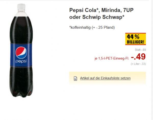 Kaufland Erkner b. Berlin nicht überall bis 20.02.2016 Pepsi Cola, Mirinda, 7UP oder Schwip Schwap 1,5l Liter -33cent