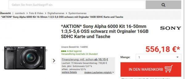 Sony Alpha 6000 Kit 16-50mm + 16GB SDHC Karte + Tasche