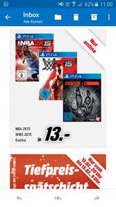 [PS4] Evolve, NBA 2K15, WWE 2k15 je 13,- € @Media Markt Online