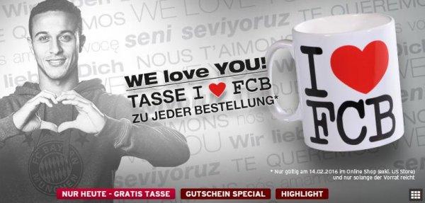 """Gratis """" I love FCB"""" Tasse zu jeder Bestellung ab 20€ Bestellwert"""