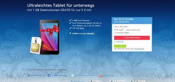 Ultraleichtes Tablet für unterwegs  mit 1 GB Datenvolumen GRATIS für nur 5 € mtl.