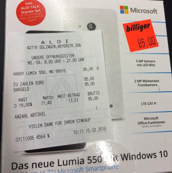 Lokal Solingen Neue Lumia 550 LTE Windows 10 und inkls 10€ Aldi Talk Starterset