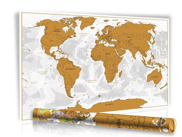 XXL Rubbelweltkarte silber oder gold in designter Geschenkrolle für 9,97€@ Amazon