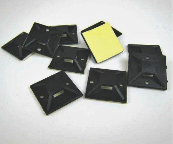 30x Befestigungssockel für Kabelbinder, selbstklebend, 20x20, schwarz