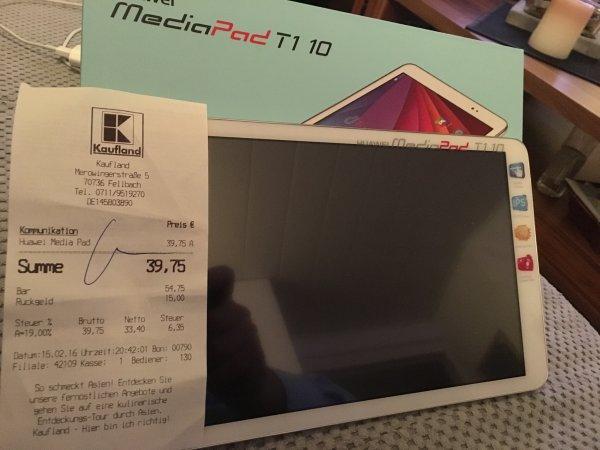 Huawei MediaPad T1 10Zoll statt 200€ für 39,75€