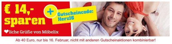 Möbelix Onlineshop: 14 € Gutschein ab 40 € Bestellwert bis 16.2.2016