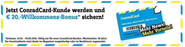 ConradCard beantragen und 20 € Willkommens-Bonus sichern