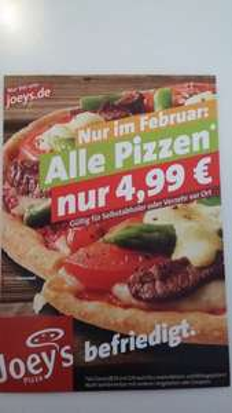 [HANNOVER] Joeys - Alle 25cm Pizzen 4,99€