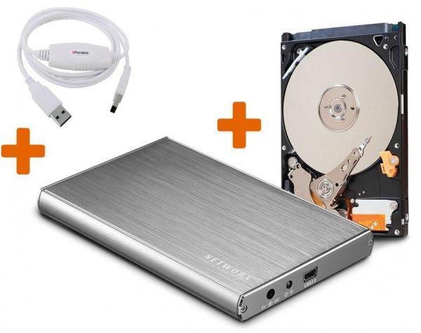 """500 GB 6,35 cm (2,5"""") Festplatte im USB 3.0 Networx Aluminiumgehäuse + Parallels USB Datentransferkabel"""