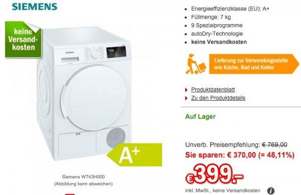 Lat Night Sale Wärmepumpentrockner Siemens WT43H000