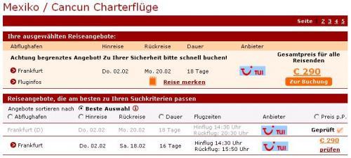 Charterflug Frankfurt-Cancun (Mexiko) zu 290,00 Euro
