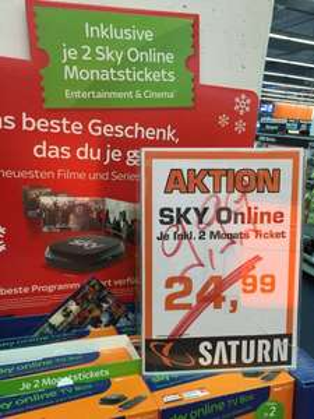 [lokal Saturn Oberhausen] Sky Online inkl. 2 Monats Tickets - 9,99€