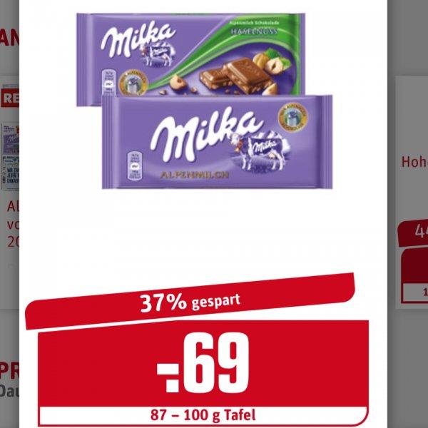 Milka Schokolade vers. Sorten