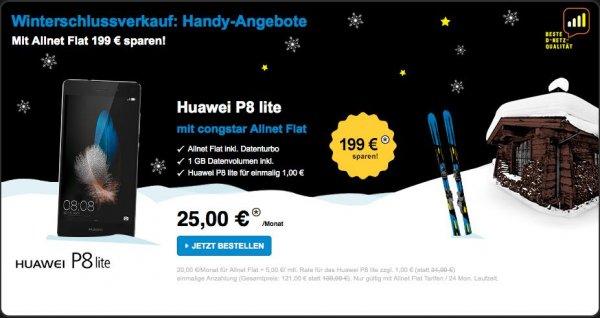 Congstar - Winterschlussverkauf - Huawei P8 lite für effektiv 66 EUR inklusive Qipu (55 EUR) mit Allnet Flat  (20 EUR effektiv pro Monat) (Allnet Flat inkl. Datenturbo 1 GB Datenvolumen)
