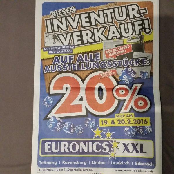 [LOKAL] Inventur-Verkauf: 20% Rabatt auf alle Ausstellungsstücke bei Euronics in Tettnang, Ravensburg, Biberach, Lindau und Leutkirch. Nur am 19. und 20. Februar 2016