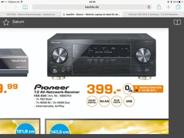 Pioneer VSX 930-K 7.2 AV Receiver - Saturn Braunschweig