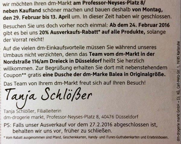 [Lokal Düsseldorf (Professor-Neyses-Platz)] dm, 20% Abverkaufs-Rabatt auf (fast) alles vom 24.2 - 27.2