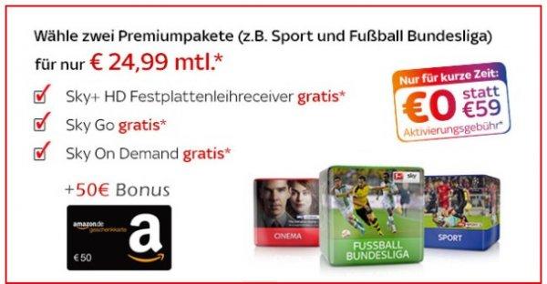 TOP Sky Starter + 2 Premiumpakete für 24,99€ + 50€ Amazon.de-Gutschein* + 0€ Aktivierungsgebühr (statt 59€)