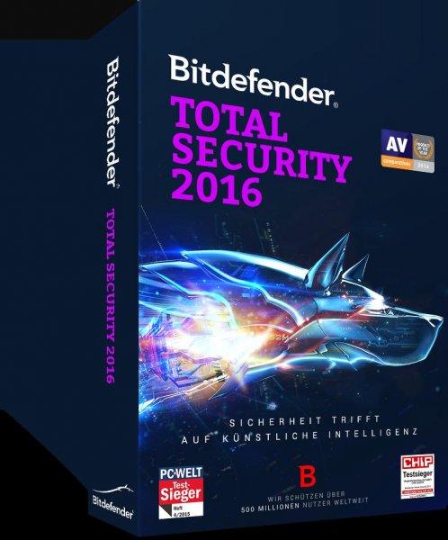 Bitdefender Total Security 2016 (3 Geräte) (1 Jahr) für 24,95€