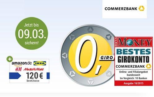 Kostenloses Girokonto Commerzbank mit 120 Euro BestChoice-Gutschein (GMX Emailadresse wird benötigt)