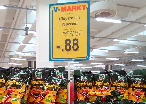 V-Markt München Euro-Industriepark Funnyfrisch Chipsfrisch Peperoni
