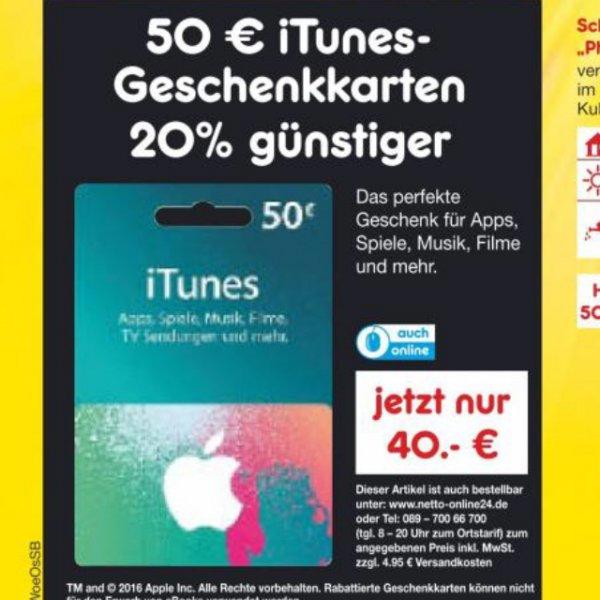 [Netto ohne Hund] 50€ iTunes 20% günstiger nur am 27.02