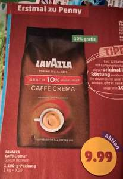 [Penny] Lavazza Caffè Crema 1,1kg Packung für 9,99€