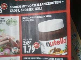 Nutella in Kaisers/Tengelmann ab Mo. 22.02 450g für 1,79€