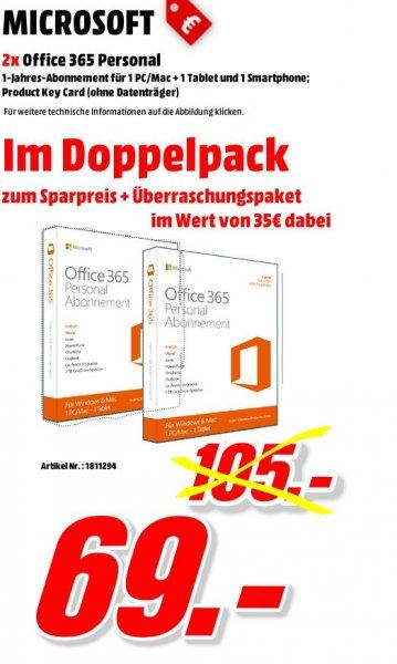 Media Markt Porta Westfalica - Microsoft Office 365 Personal im Doppelpack + Überraschungspaket im Wert von 35 Euro dazu