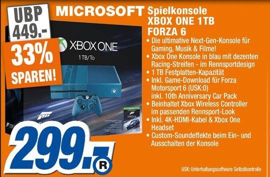 [Lokal Expert Rinteln und Springe] Microsoft Xbox One 1TB + Forza Motorsport 6 - Limited Edition für 299,-€ *Restposten*