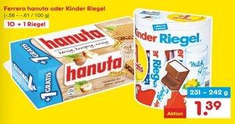 Netto MD Kinder Riegel / Hanuta 10+1 für 1,39€