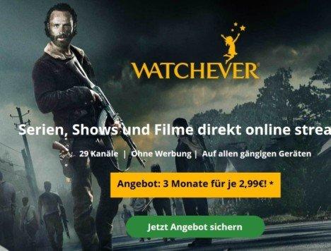 {Watchever] 3 Monate das neue Watchever für 2,99€ pro Monat testen (statt 27€)