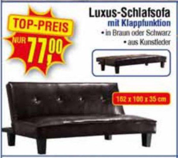 [Centershop] Schlafsofa aus Kunstleder Braun oder Schwarz für 77€