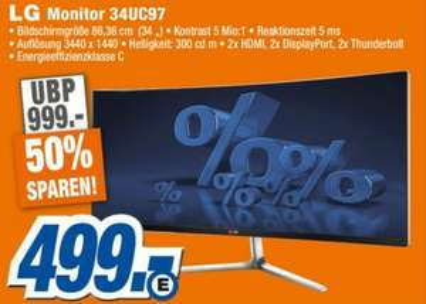 [Expert Leipzig] LG 34UC97 (3440x1440, Curved IPS Display uvm)  für 499€ (Idealo 899,95€)