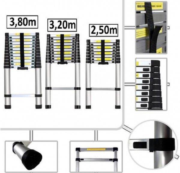 ( Allyouneed Wochenangebot )Teleskopleiter ALU Leiter Aluleiter Stehleiter Anlegeleiter Mehrzweckleiter ab 44,95€ Länge 2,5m 3,2m 3,8m