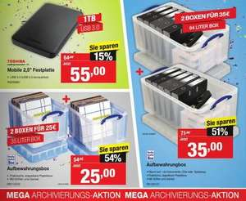 Staples - Aufbewahrungsboxen -50% (2x 35 Liter-Box = 25€)
