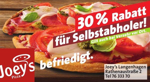30% Selbstabholer Rabatt auf alle Hauptgerichte bei Joeys Pizza Langenhagen