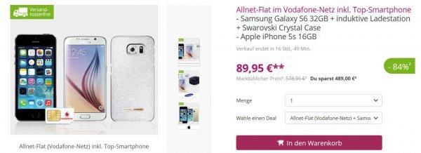 (@limango) Allnet-Flat im Vodafone-Netz + Samsung Galaxy S6 32GB  +  Ladestation + Swarovski Crystal Case 20€/ monat plus 76€ zuzahlung für's handy