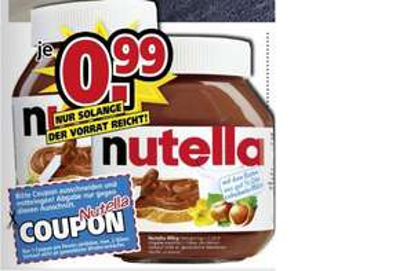 Nutella 450 gr. für 0,99 Euro bei Möbel Kempf in Aschaffenburg & Bad König
