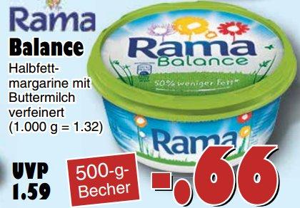 [JAWOLL] Rama Balance 500g (Halbfettmargarine mit Buttermilch) für 0,66€