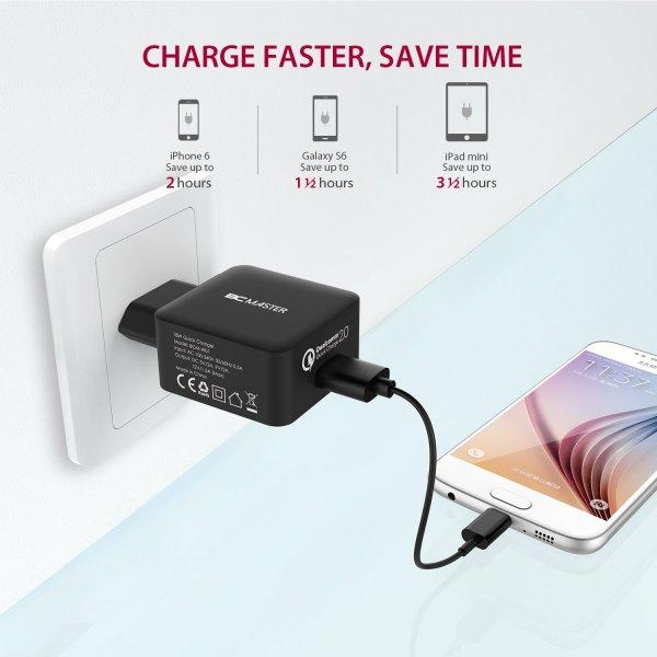 (Amazon Prime) Ladegerät mit Quick Charge 2.0 [Qualcomm zertifiziert] 18W USB Charger mit Micro USB Kabel