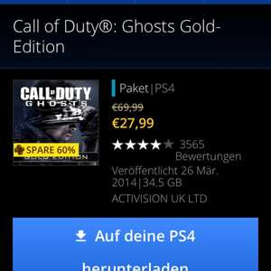 Call of Duty Ghosts Gold Edition für PS4