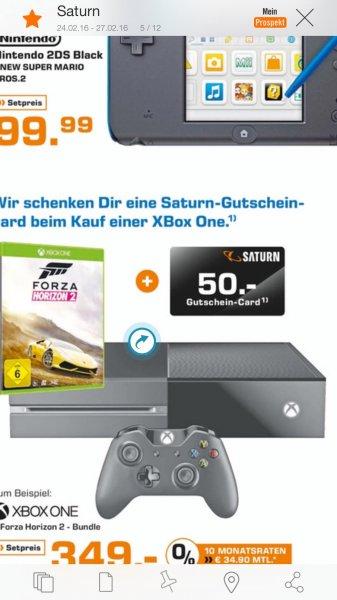 [Saturn] Xbox One 500Gb Forza horizon 2 Bundle + 50€ Saturn  geschenkt für 349 €
