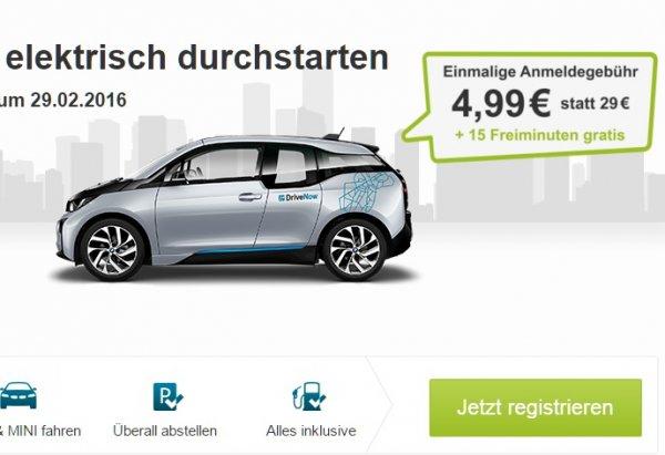 [lokal]* Drive Now 4,99 € Anmeldegebühr statt 29 € + 15 Freiminuten