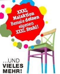 XXXL Oberhausen Neueröffnung Aktion für Kinder - Bemale deinen eigenen XXXL Stuhl und nimm ihn kostenlos mit!