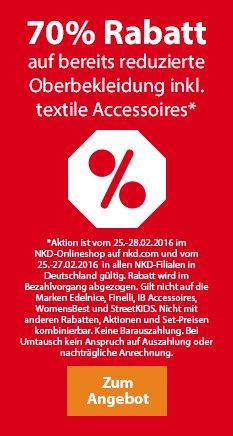 70 % Rabatt auf bereits reduzierte Oberbekleidung ( z.B. Jacken, Hosen, Shirts) @ NKD (online und offline)