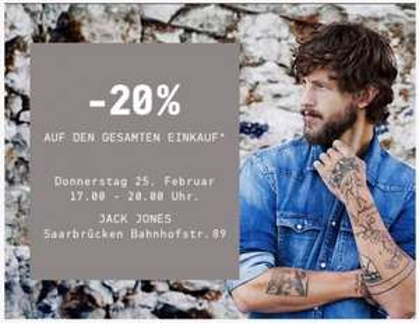 [Saarbrücken] Heute 20% Rabatt bei Jack & Jones Bahnhofsstraße
