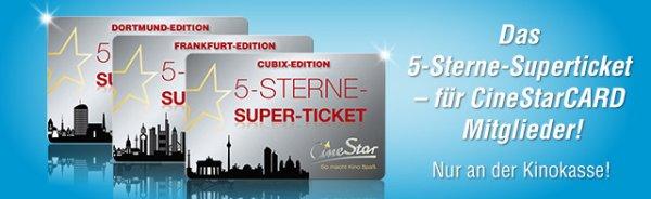 Cinestar 5-Sterne-Superticket im Skyline-Design für 25,-€ in zahlreichen Kinos*