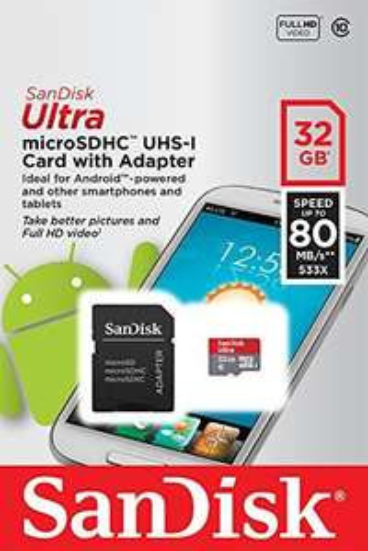 SanDisk Ultra microSDHC 32GB Class 10 Speicherkarte inkl. SD-Adapter für 9,99 EURO mit AMAZON Prime