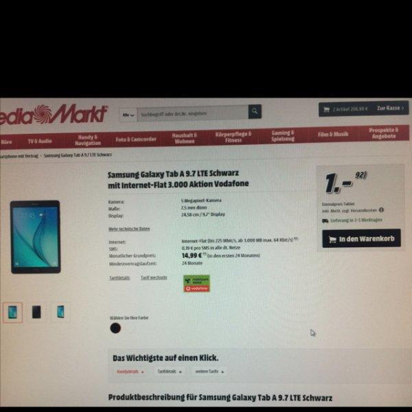 Samsung Tab A 9.7 LTE mit Internet Flat 3.000